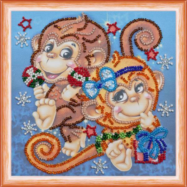 Buy Mini Bead embroidery kit - Funny monkeys-AM-114