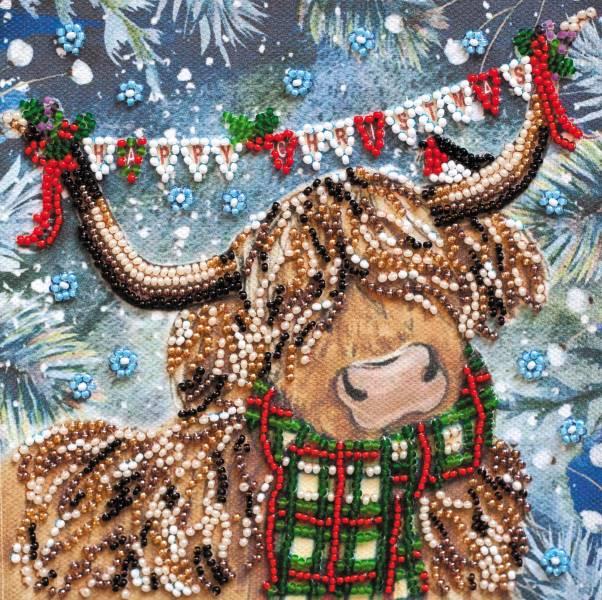 Buy Mini Bead embroidery kit - Christmas bull-AM-216