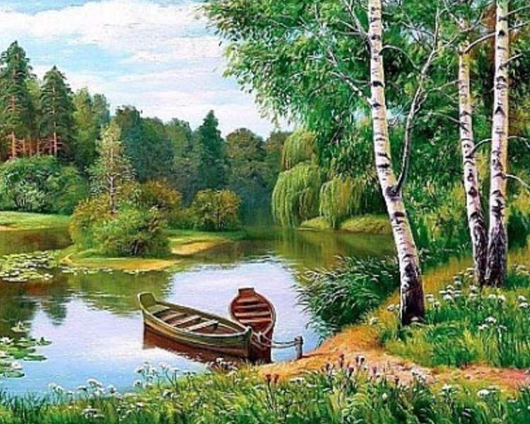Buy Diamond painting kit-Birch by the river-DM-039