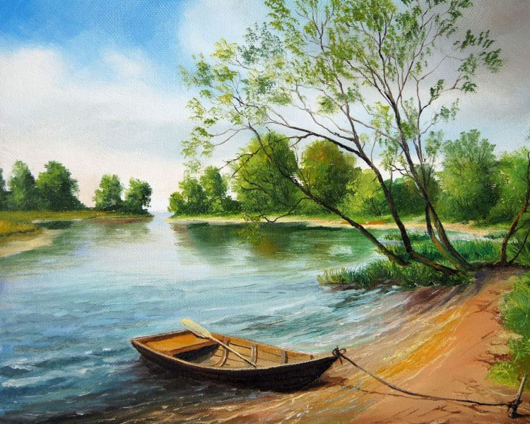 Buy Diamond painting kit-Boat at the bank-DM-069
